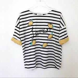 Popcorn | Black/White Striped Lemon Tee